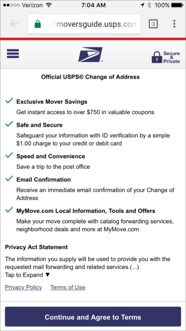 Shows benefits and privacy info