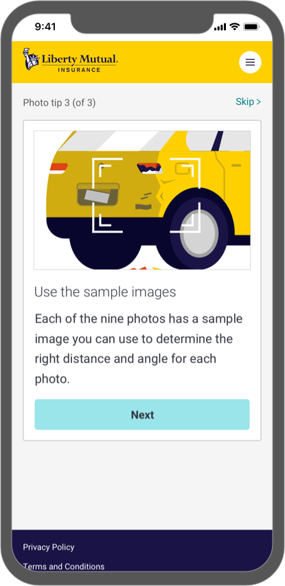 Mock up 1 - Assisted Photo Capture sample image tips screen